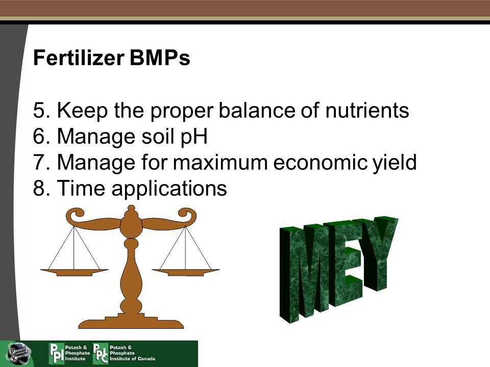 Fertilizer BMPs 5.Keep the proper balance of nutrients 6.