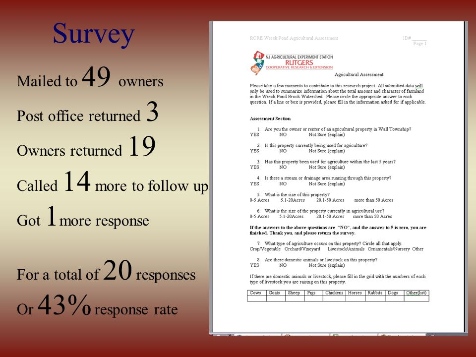 Survey Mailed to 49 owners Post office returned 3 Owners returned 19 Called 14 more to follow up Got 1 more response For a total of 20 responses Or 43