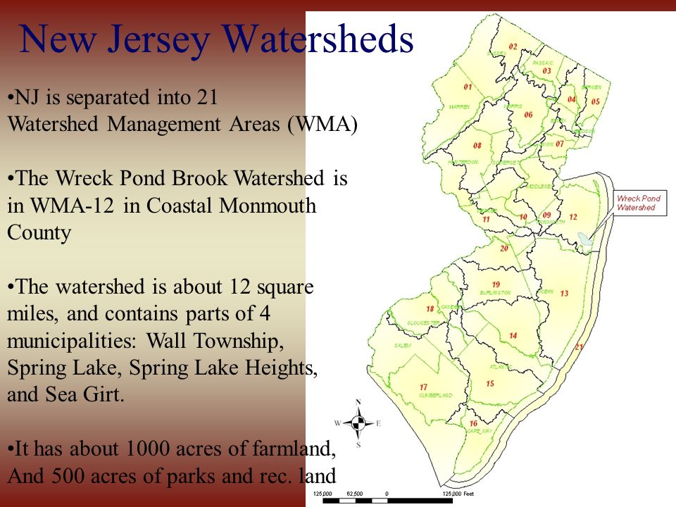 New Jersey Watersheds NJ is separated into 21 Watershed Management Areas (WMA) The Wreck Pond Brook Watershed is in WMA-12 in Coastal Monmouth County