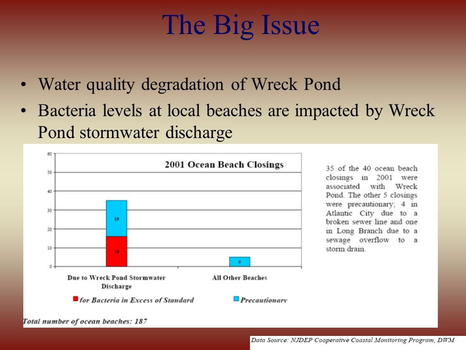 The Big Issue Water quality degradation of Wreck Pond Bacteria levels at local beaches are impacted by Wreck Pond stormwater discharge