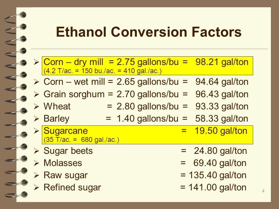4 Ethanol Conversion Factors Corn – dry mill =2.75 gallons/bu = 98.21 gal/ton (4.2 T/ac.
