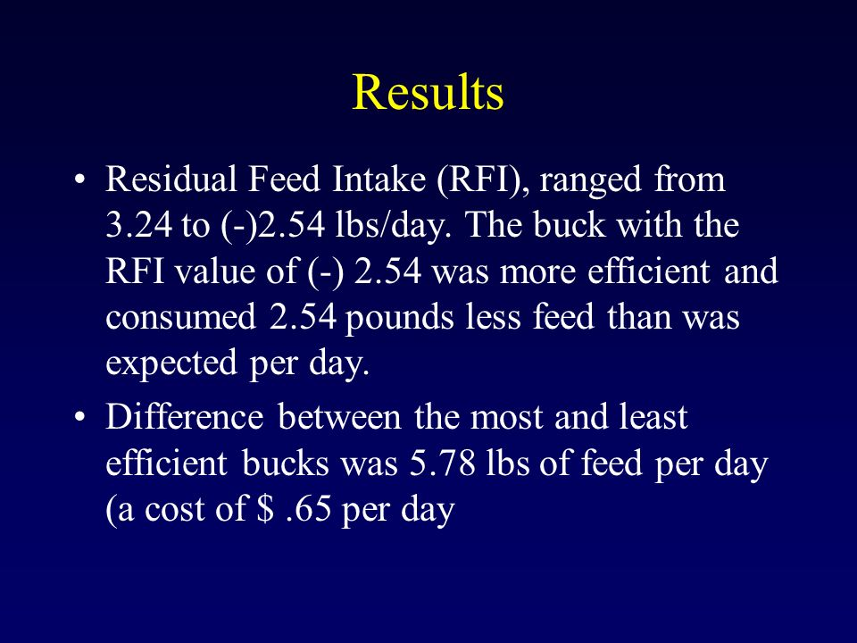 Results Residual Feed Intake (RFI), ranged from 3.24 to (-)2.54 lbs/day. The buck with the RFI value of (-) 2.54 was more efficient and consumed 2.54