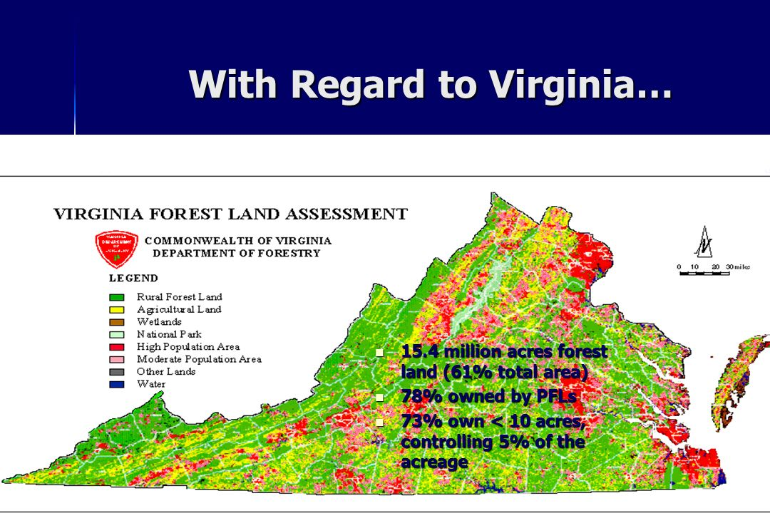 With Regard to Virginia… 15.4 million acres forest land (61% total area) 15.4 million acres forest land (61% total area) 78% owned by PFLs 78% owned b