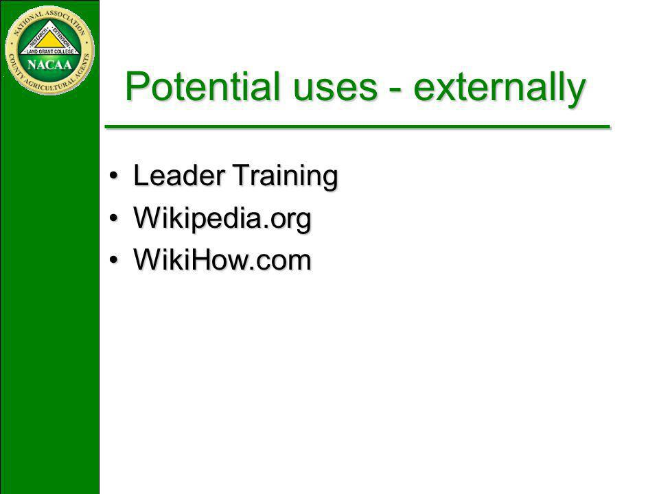 Leader TrainingLeader Training Wikipedia.orgWikipedia.org WikiHow.comWikiHow.com Potential uses - externally