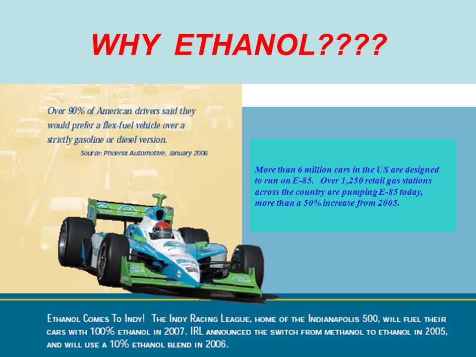 WHY ETHANOL . More than 6 million cars in the US are designed to run on E-85.