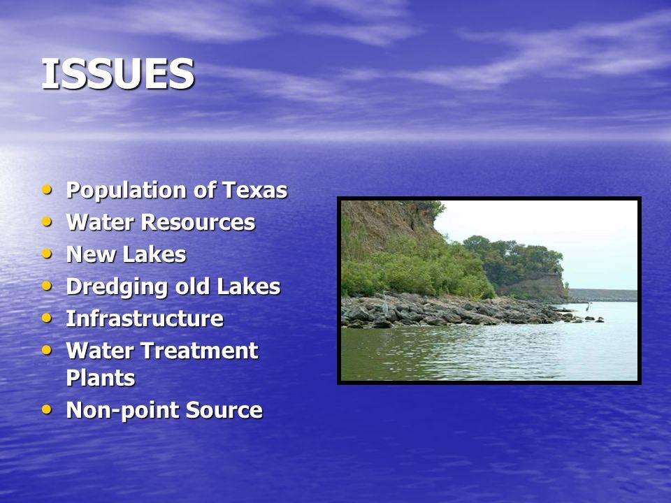 ISSUES Population of Texas Population of Texas Water Resources Water Resources New Lakes New Lakes Dredging old Lakes Dredging old Lakes Infrastructur