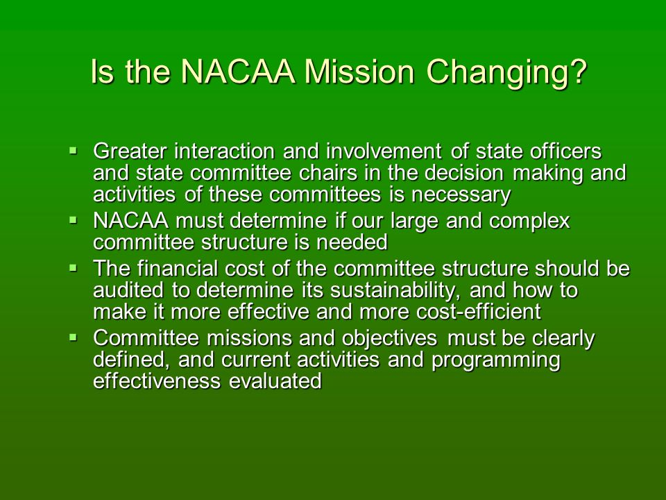 Is the NACAA Mission Changing.
