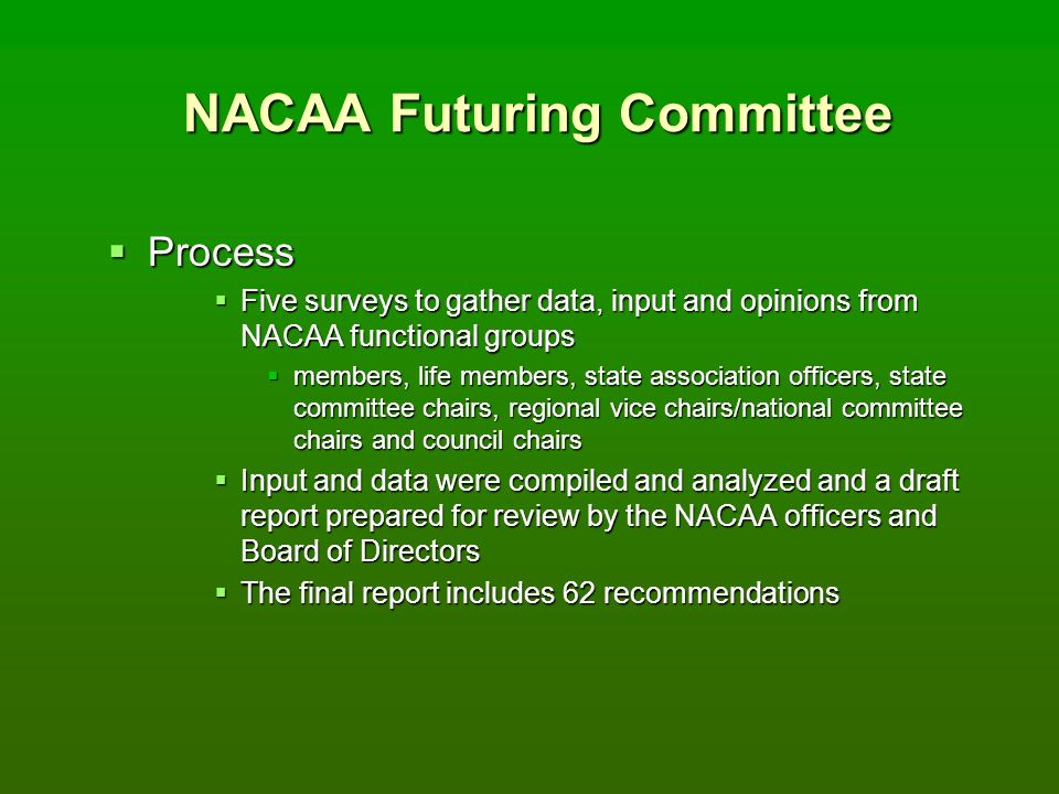 NACAA Futuring Committee Process Process Five surveys to gather data, input and opinions from NACAA functional groups Five surveys to gather data, input and opinions from NACAA functional groups members, life members, state association officers, state committee chairs, regional vice chairs/national committee chairs and council chairs members, life members, state association officers, state committee chairs, regional vice chairs/national committee chairs and council chairs Input and data were compiled and analyzed and a draft report prepared for review by the NACAA officers and Board of Directors Input and data were compiled and analyzed and a draft report prepared for review by the NACAA officers and Board of Directors The final report includes 62 recommendations The final report includes 62 recommendations