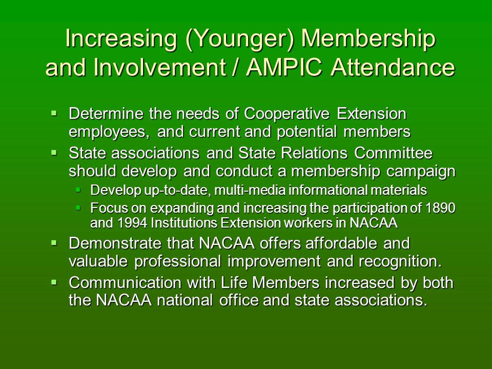Increasing (Younger) Membership and Involvement / AMPIC Attendance Determine the needs of Cooperative Extension employees, and current and potential members Determine the needs of Cooperative Extension employees, and current and potential members State associations and State Relations Committee should develop and conduct a membership campaign State associations and State Relations Committee should develop and conduct a membership campaign Develop up-to-date, multi-media informational materials Develop up-to-date, multi-media informational materials Focus on expanding and increasing the participation of 1890 and 1994 Institutions Extension workers in NACAA Focus on expanding and increasing the participation of 1890 and 1994 Institutions Extension workers in NACAA Demonstrate that NACAA offers affordable and valuable professional improvement and recognition.
