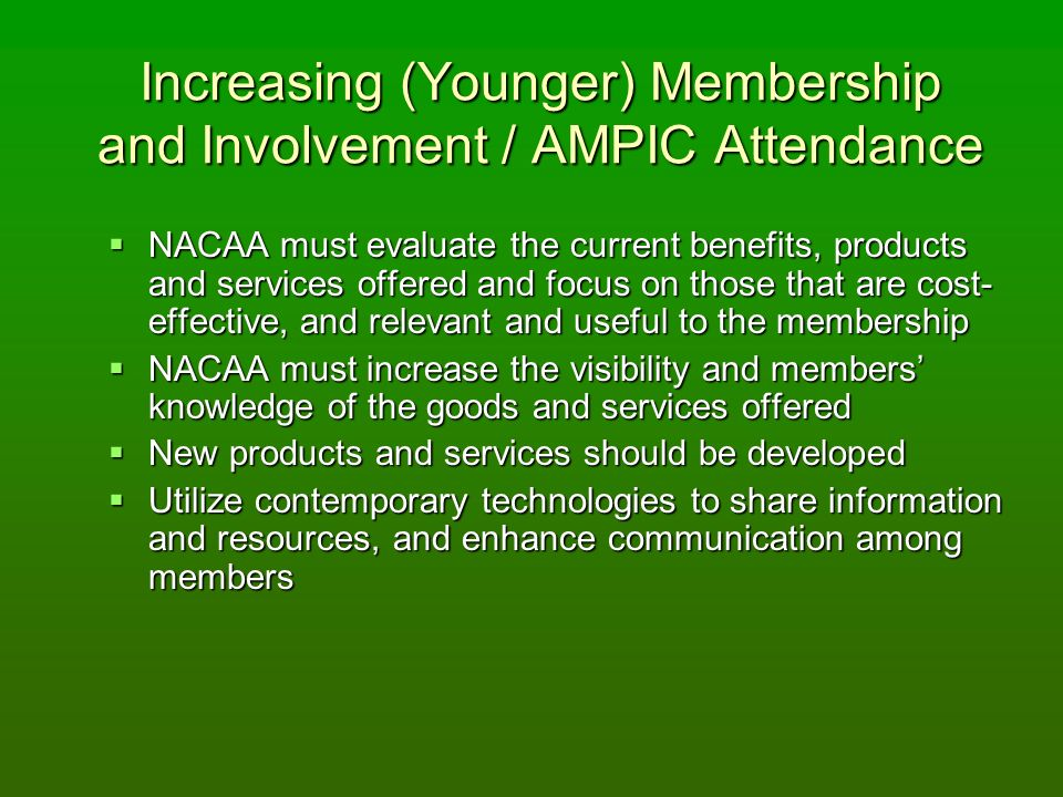 Increasing (Younger) Membership and Involvement / AMPIC Attendance NACAA must evaluate the current benefits, products and services offered and focus on those that are cost- effective, and relevant and useful to the membership NACAA must evaluate the current benefits, products and services offered and focus on those that are cost- effective, and relevant and useful to the membership NACAA must increase the visibility and members knowledge of the goods and services offered NACAA must increase the visibility and members knowledge of the goods and services offered New products and services should be developed New products and services should be developed Utilize contemporary technologies to share information and resources, and enhance communication among members Utilize contemporary technologies to share information and resources, and enhance communication among members