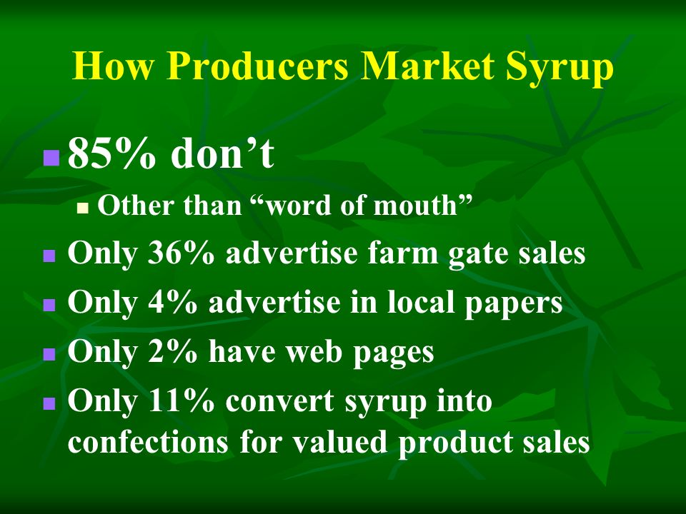 How Producers Market Syrup 85% dont Other than word of mouth Only 36% advertise farm gate sales Only 4% advertise in local papers Only 2% have web pages Only 11% convert syrup into confections for valued product sales