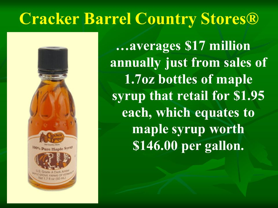 Cracker Barrel Country Stores® …averages $17 million annually just from sales of 1.7oz bottles of maple syrup that retail for $1.95 each, which equates to maple syrup worth $146.00 per gallon.