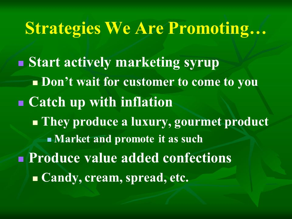 Strategies We Are Promoting… Start actively marketing syrup Dont wait for customer to come to you Catch up with inflation They produce a luxury, gourmet product Market and promote it as such Produce value added confections Candy, cream, spread, etc.