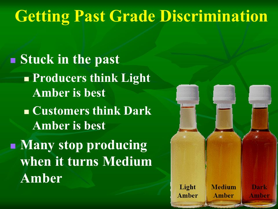 Getting Past Grade Discrimination Stuck in the past Producers think Light Amber is best Customers think Dark Amber is best Many stop producing when it turns Medium Amber Light Amber Medium Amber Dark Amber