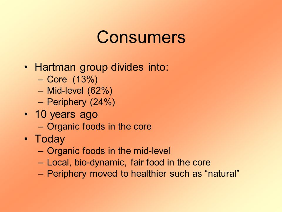 Consumers Hartman group divides into: –Core (13%) –Mid-level (62%) –Periphery (24%) 10 years ago –Organic foods in the core Today –Organic foods in the mid-level –Local, bio-dynamic, fair food in the core –Periphery moved to healthier such as natural