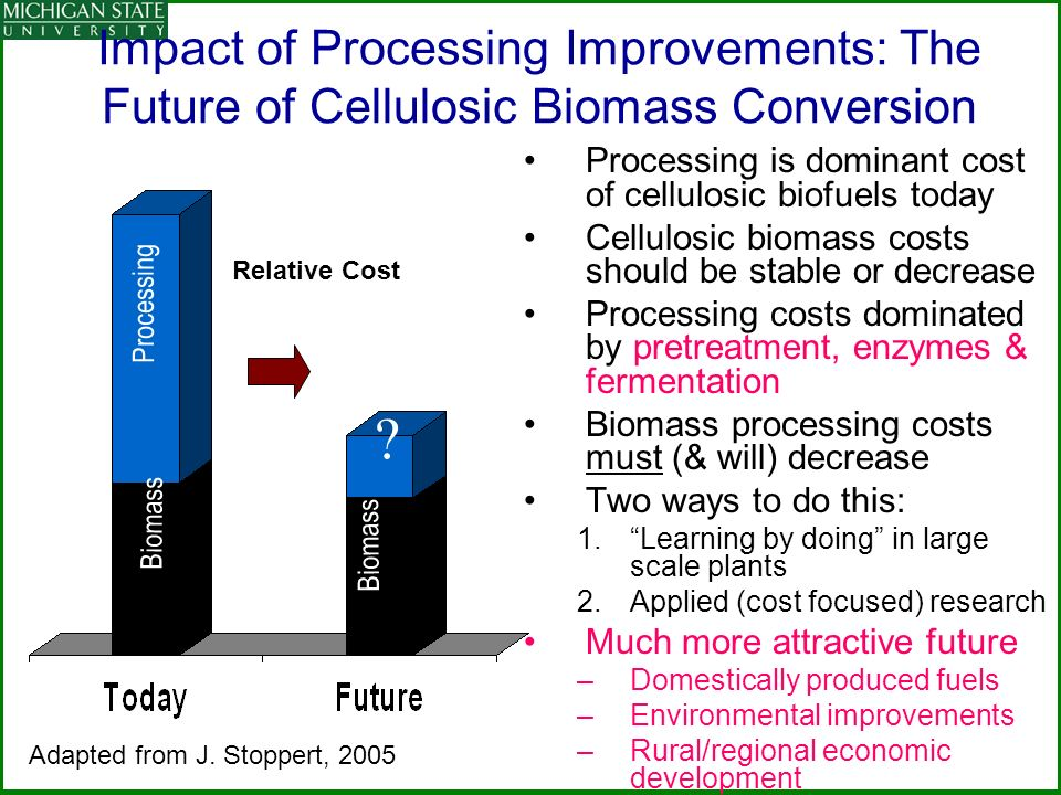 Impact of Processing Improvements: The Future of Cellulosic Biomass Conversion Processing is dominant cost of cellulosic biofuels today Cellulosic biomass costs should be stable or decrease Processing costs dominated by pretreatment, enzymes & fermentation Biomass processing costs must (& will) decrease Two ways to do this: 1.Learning by doing in large scale plants 2.Applied (cost focused) research Much more attractive future –Domestically produced fuels –Environmental improvements –Rural/regional economic development Processing Biomass .