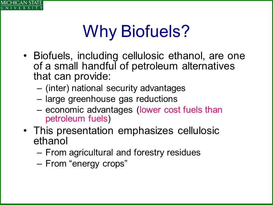 Why Biofuels? Biofuels, including cellulosic ethanol, are one of a small handful of petroleum alternatives that can provide: –(inter) national securit