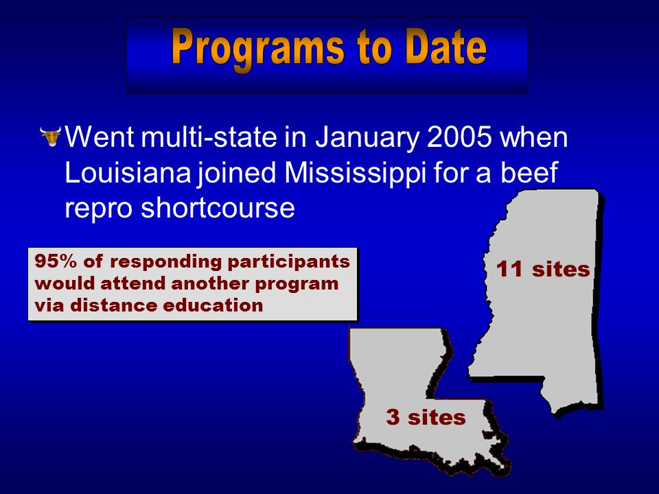 Went multi-state in January 2005 when Louisiana joined Mississippi for a beef repro shortcourse 95% of responding participants would attend another pr