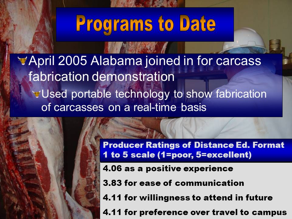 April 2005 Alabama joined in for carcass fabrication demonstration Used portable technology to show fabrication of carcasses on a real-time basis 4.06