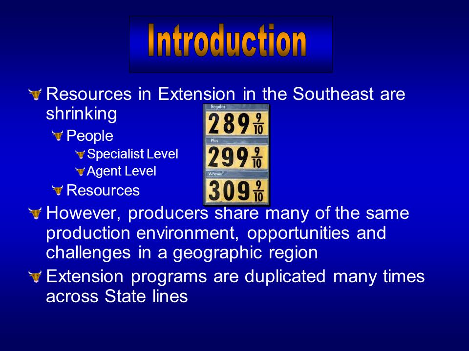 Resources in Extension in the Southeast are shrinking People Specialist Level Agent Level Resources However, producers share many of the same producti