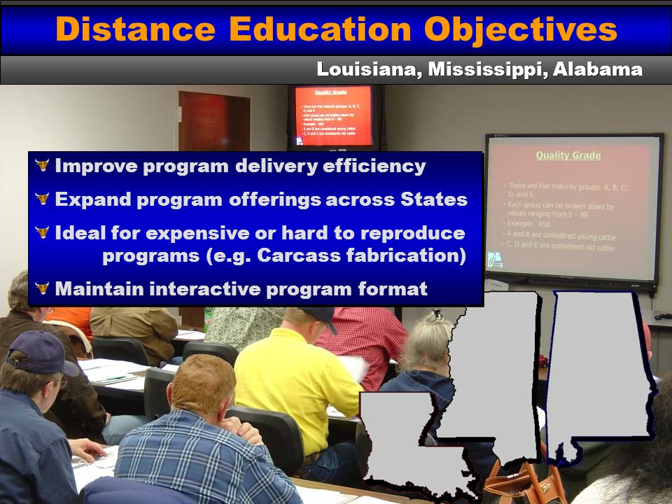 Distance Education Objectives Louisiana, Mississippi, Alabama Improve program delivery efficiency Expand program offerings across States Ideal for exp