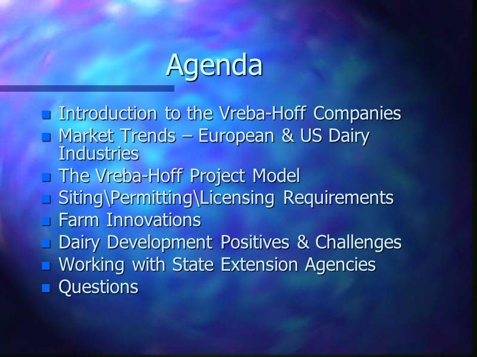 Agenda n Introduction to the Vreba-Hoff Companies n Market Trends – European & US Dairy Industries n The Vreba-Hoff Project Model n Siting\Permitting\