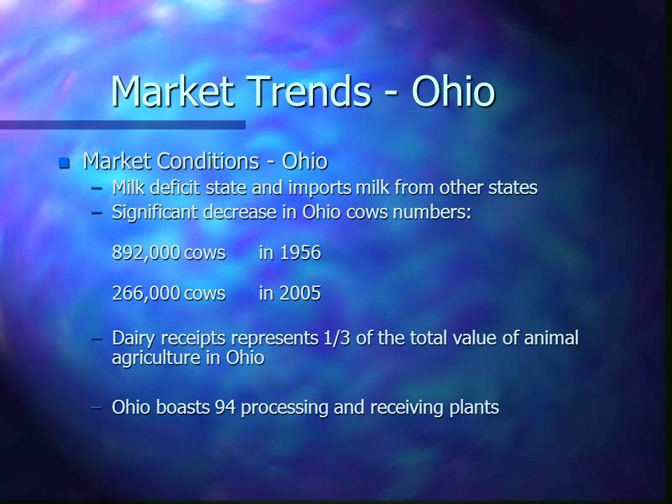 Market Trends - Ohio n Market Conditions - Ohio –Milk deficit state and imports milk from other states –Significant decrease in Ohio cows numbers: 892