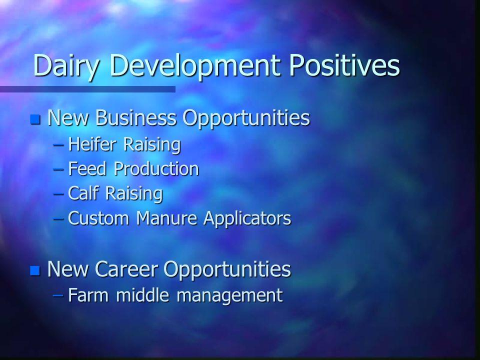 Dairy Development Positives n New Business Opportunities –Heifer Raising –Feed Production –Calf Raising –Custom Manure Applicators n New Career Opport
