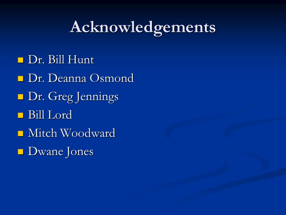 Acknowledgements Dr. Bill Hunt Dr. Bill Hunt Dr.