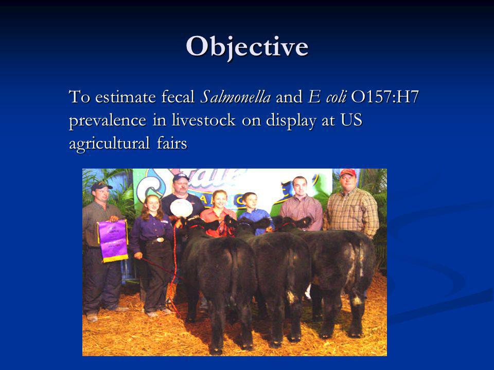 Objective To estimate fecal Salmonella and E coli O157:H7 prevalence in livestock on display at US agricultural fairs
