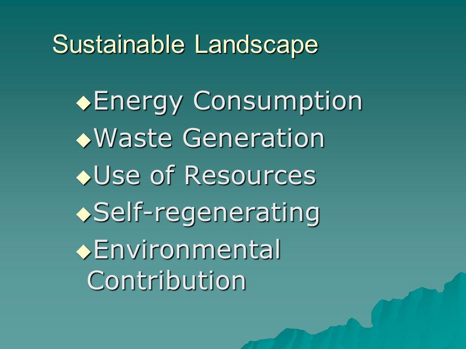 Sustainable Landscape Energy Consumption Energy Consumption Waste Generation Waste Generation Use of Resources Use of Resources Self-regenerating Self