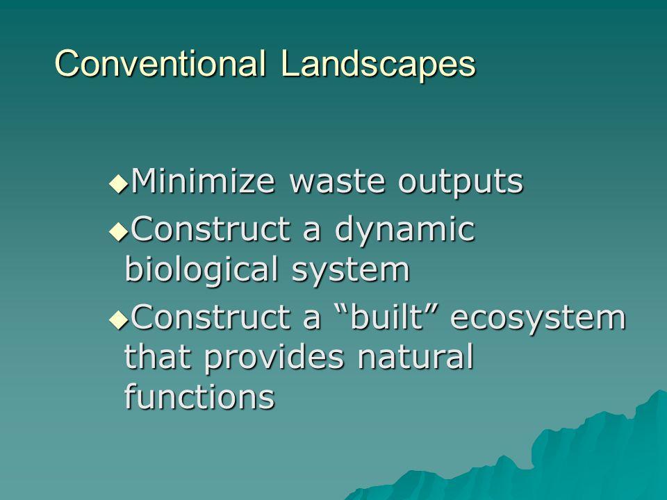 Conventional Landscapes Minimize waste outputs Minimize waste outputs Construct a dynamic biological system Construct a dynamic biological system Cons