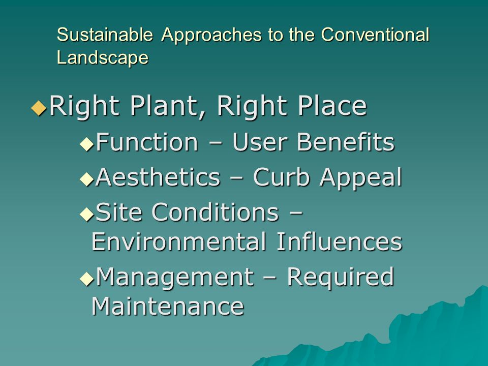 Sustainable Approaches to the Conventional Landscape Right Plant, Right Place Right Plant, Right Place Function – User Benefits Function – User Benefits Aesthetics – Curb Appeal Aesthetics – Curb Appeal Site Conditions – Environmental Influences Site Conditions – Environmental Influences Management – Required Maintenance Management – Required Maintenance