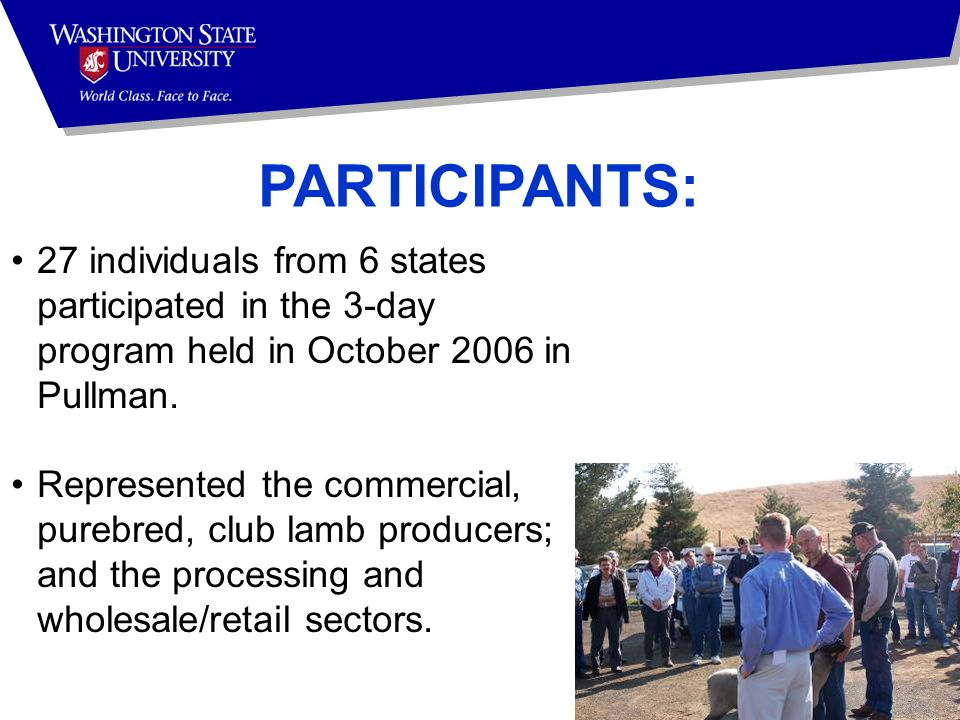 PARTICIPANTS: 27 individuals from 6 states participated in the 3-day program held in October 2006 in Pullman.