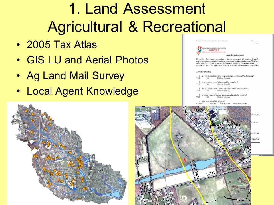 1. Land Assessment Agricultural & Recreational 2005 Tax Atlas GIS LU and Aerial Photos Ag Land Mail Survey Local Agent Knowledge