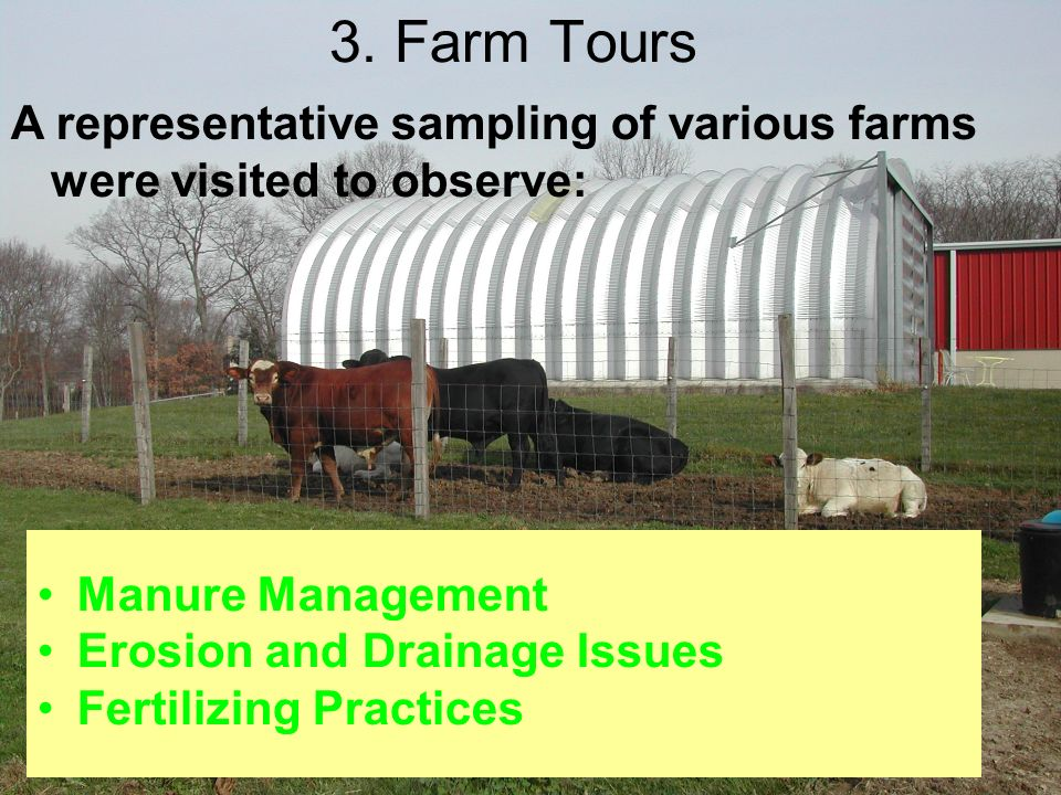 3. Farm Tours Manure Management Erosion and Drainage Issues Fertilizing Practices A representative sampling of various farms were visited to observe: