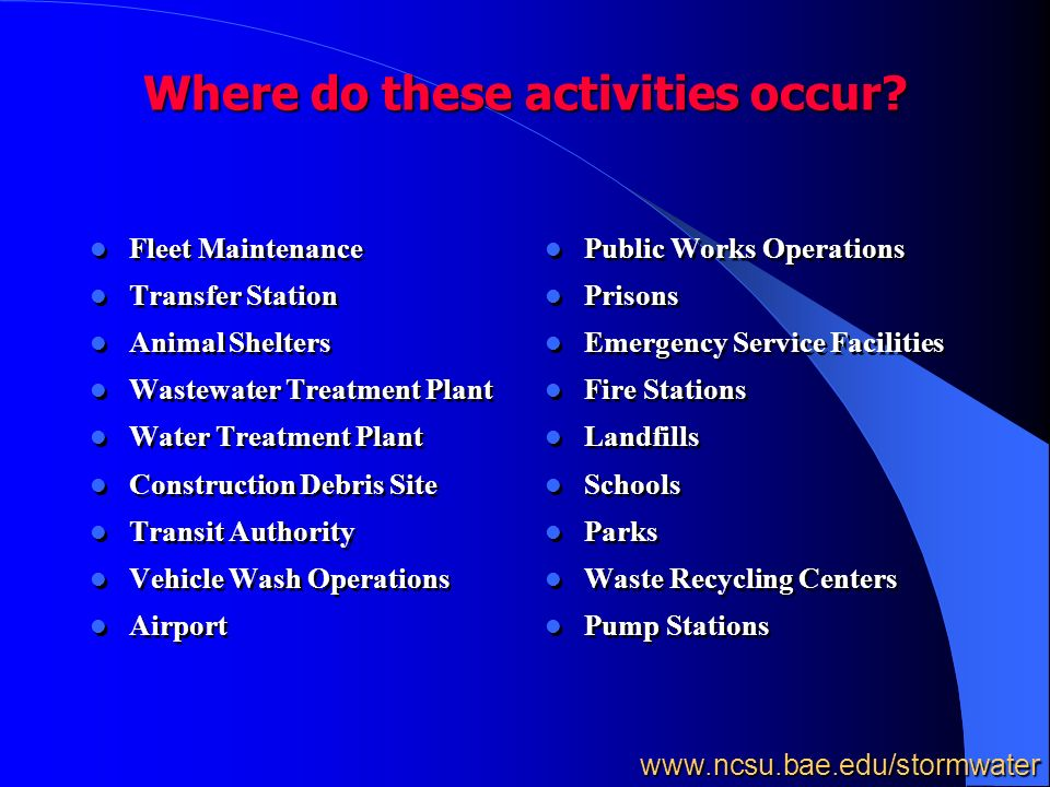 Where do these activities occur.
