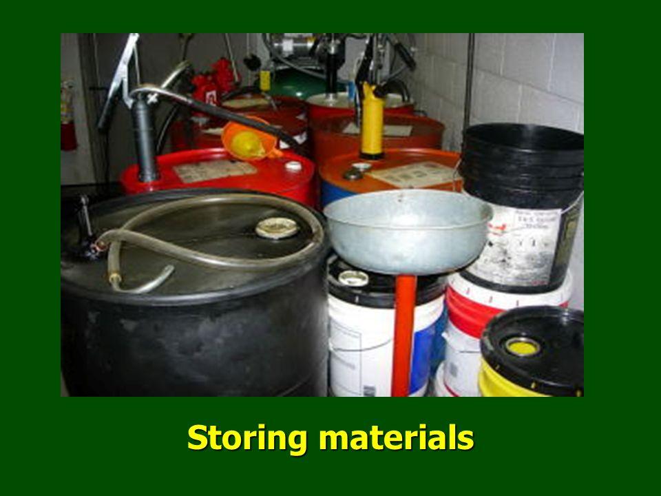 Storing materials