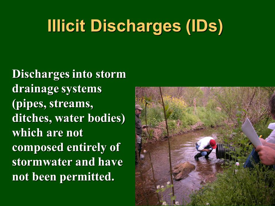 Discharges into storm drainage systems (pipes, streams, ditches, water bodies) which are not composed entirely of stormwater and have not been permitted.