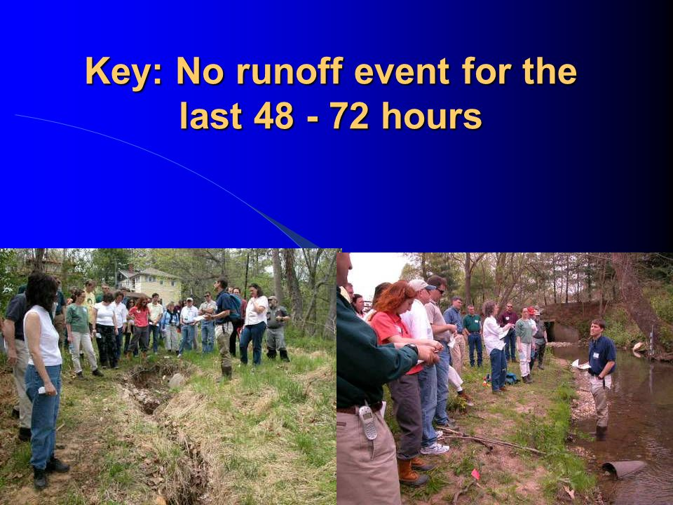 Key: No runoff event for the last 48 - 72 hours