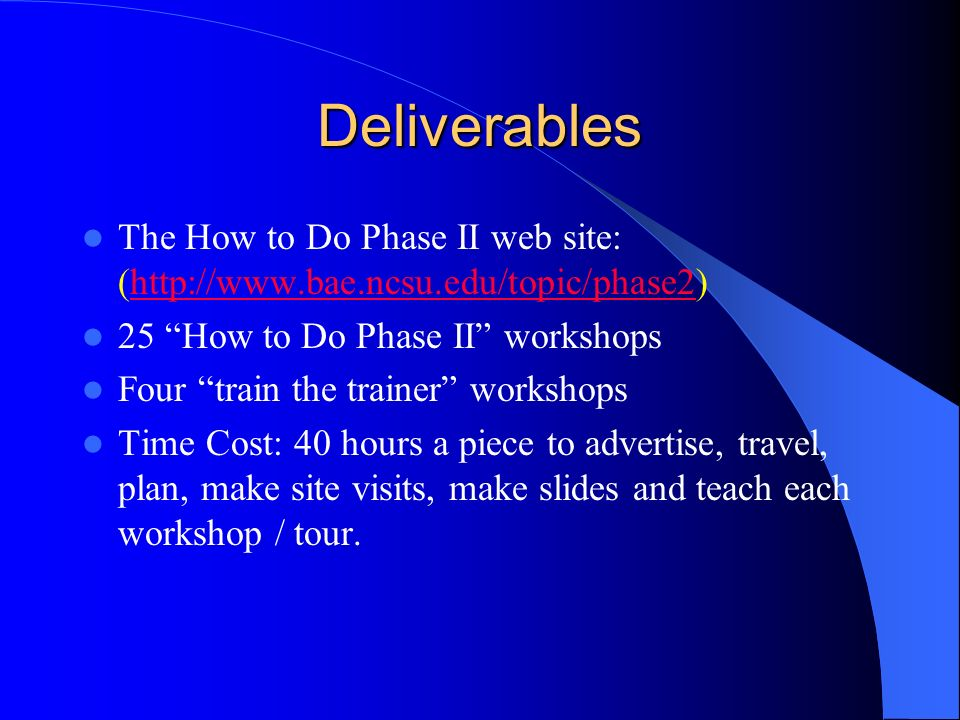 Deliverables The How to Do Phase II web site: (http://www.bae.ncsu.edu/topic/phase2)http://www.bae.ncsu.edu/topic/phase2 25 How to Do Phase II workshops Four train the trainer workshops Time Cost: 40 hours a piece to advertise, travel, plan, make site visits, make slides and teach each workshop / tour.