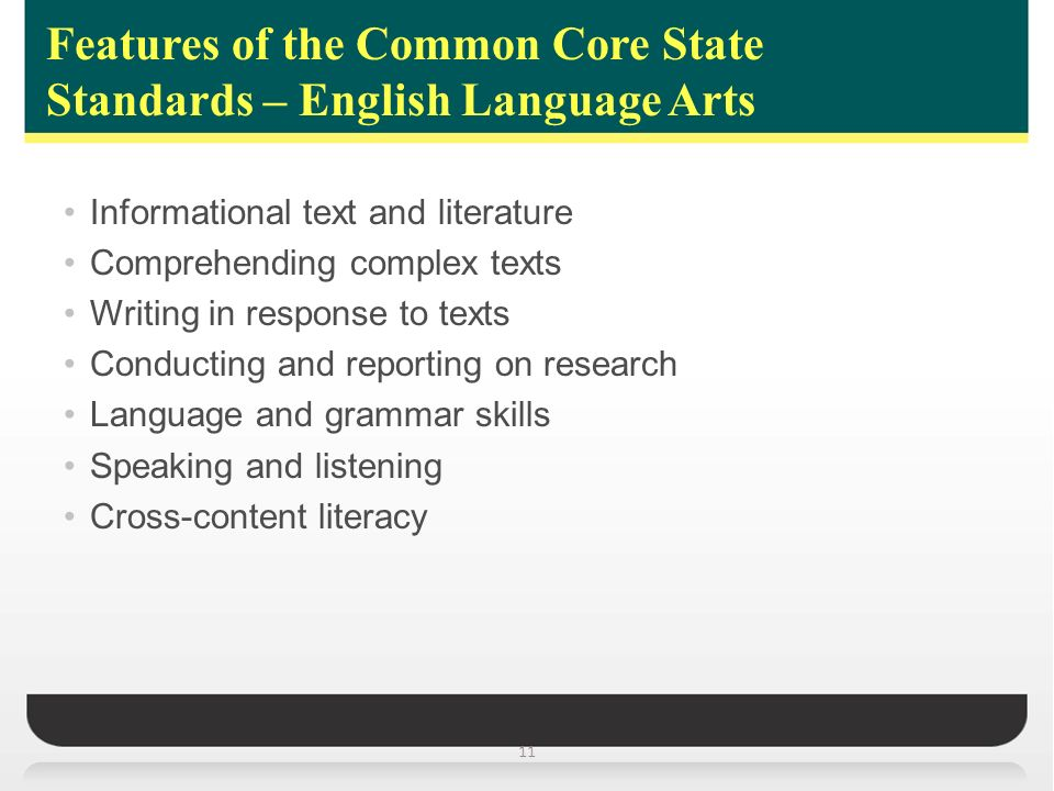 Features of the Common Core State Standards – English Language Arts 11 Informational text and literature Comprehending complex texts Writing in response to texts Conducting and reporting on research Language and grammar skills Speaking and listening Cross-content literacy
