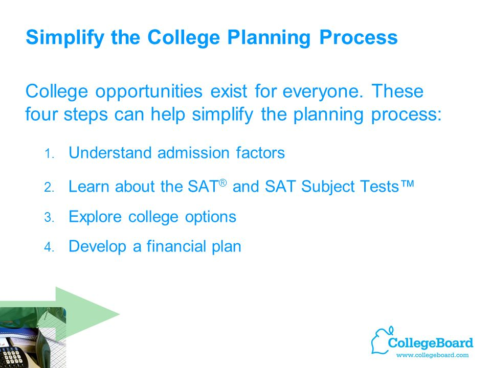Simplify the College Planning Process 1. Understand admission factors 2.