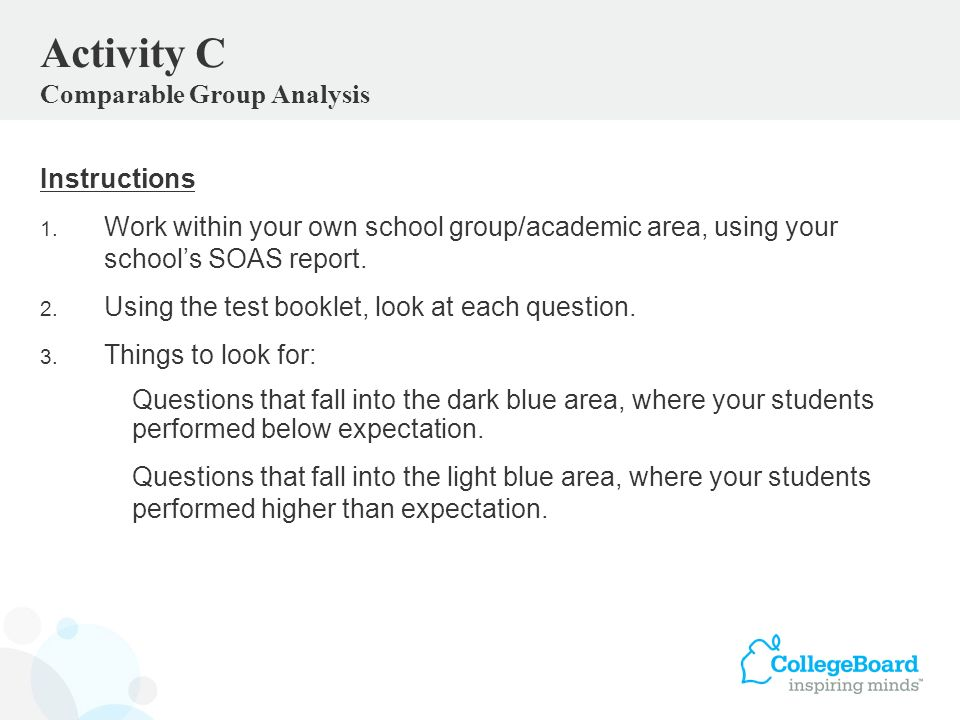 Instructions 1. Work within your own school group/academic area, using your schools SOAS report.