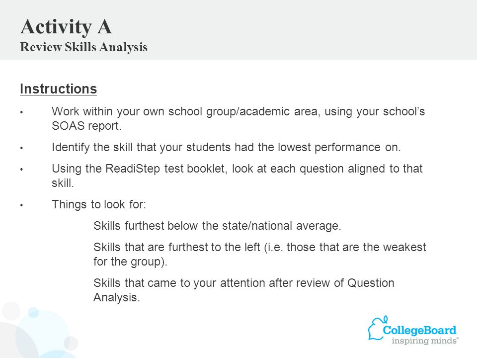 Instructions Work within your own school group/academic area, using your schools SOAS report.