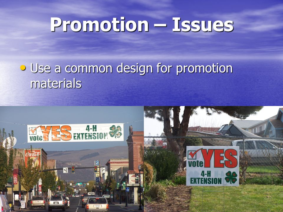 Promotion – Issues Use a common design for promotion materials Use a common design for promotion materials