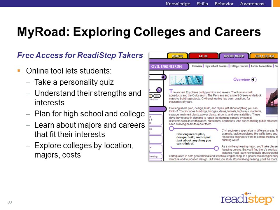 33 MyRoad: Exploring Colleges and Careers Free Access for ReadiStep Takers Online tool lets students: –Take a personality quiz –Understand their stren