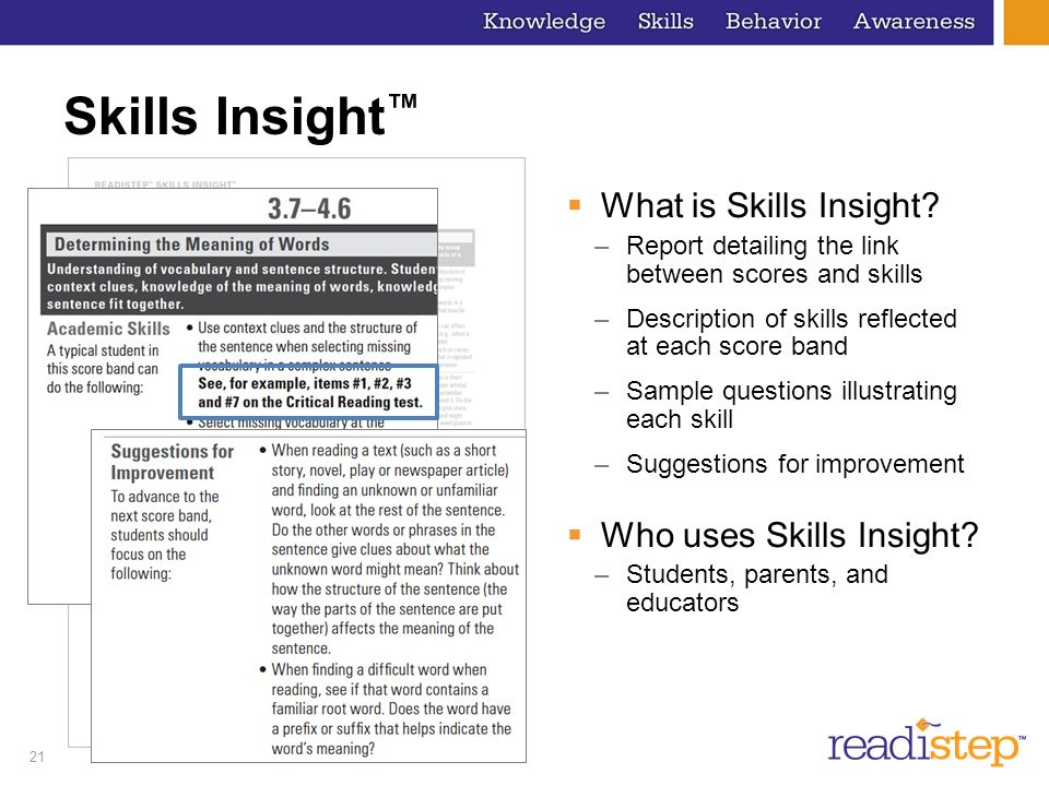 21 Skills Insight What is Skills Insight? –Report detailing the link between scores and skills –Description of skills reflected at each score band –Sa