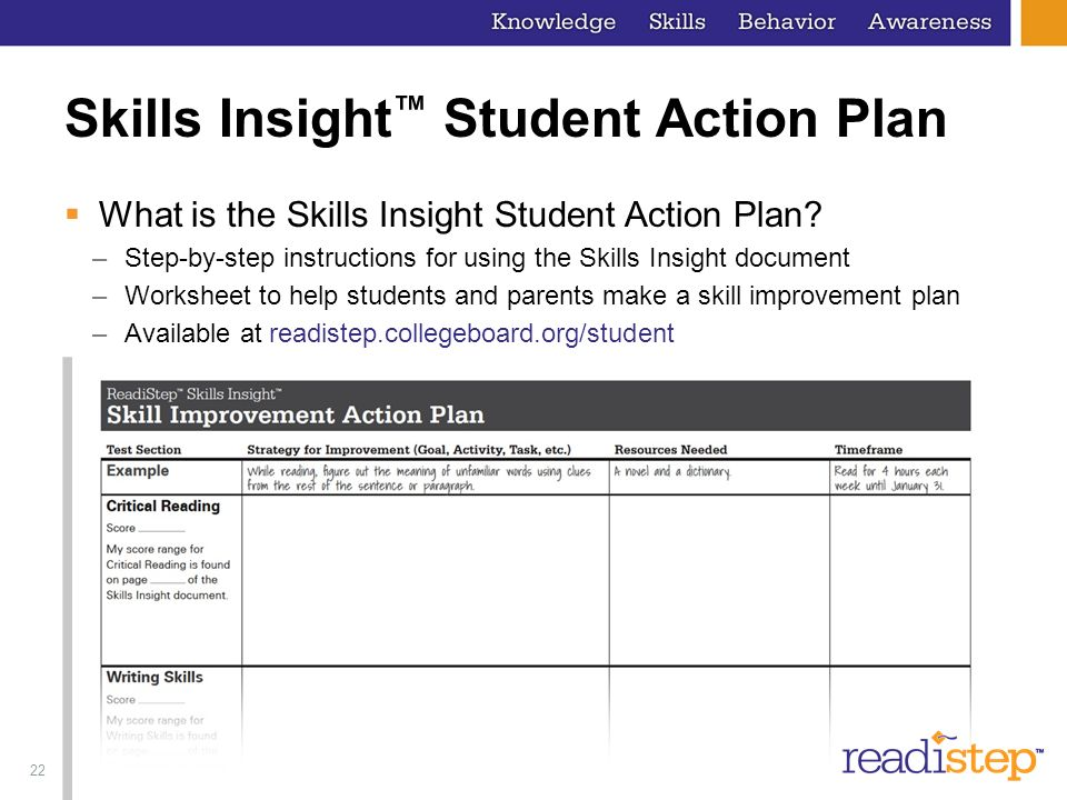 22 Skills Insight Student Action Plan What is the Skills Insight Student Action Plan? –Step-by-step instructions for using the Skills Insight document