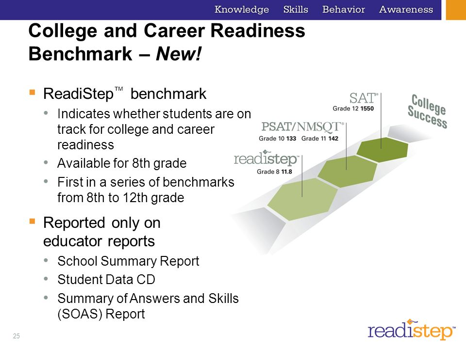 25 College and Career Readiness Benchmark – New.